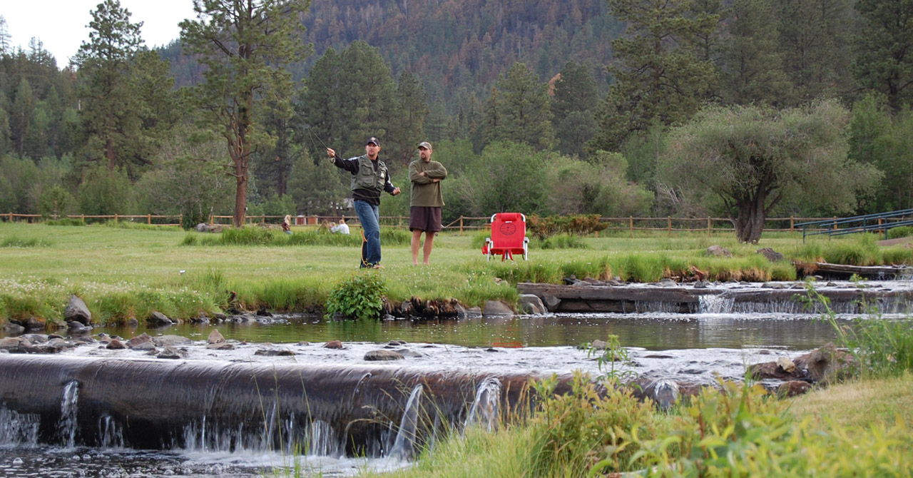 Fly fishing private lakes at Greer Lodge