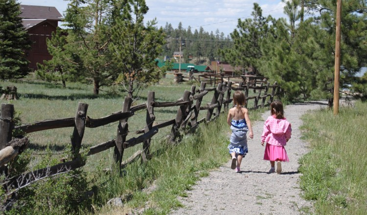 Little girls enjoying a scenic walk- Greer, AZ