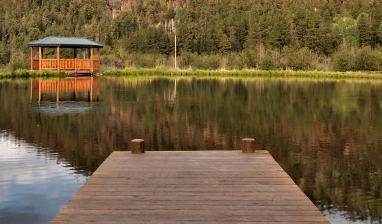 Dock view of private trout pond in Greer, AZ