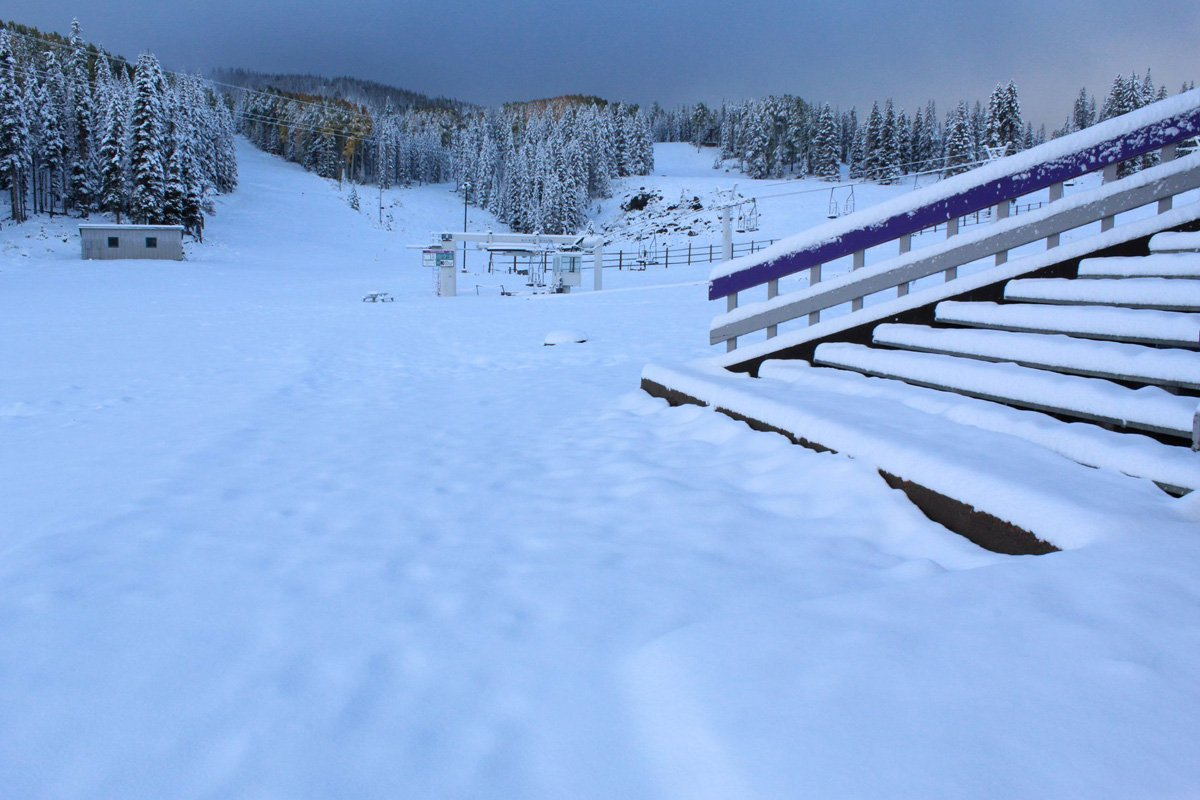 Snowy Steps at Sunrise Ski Park