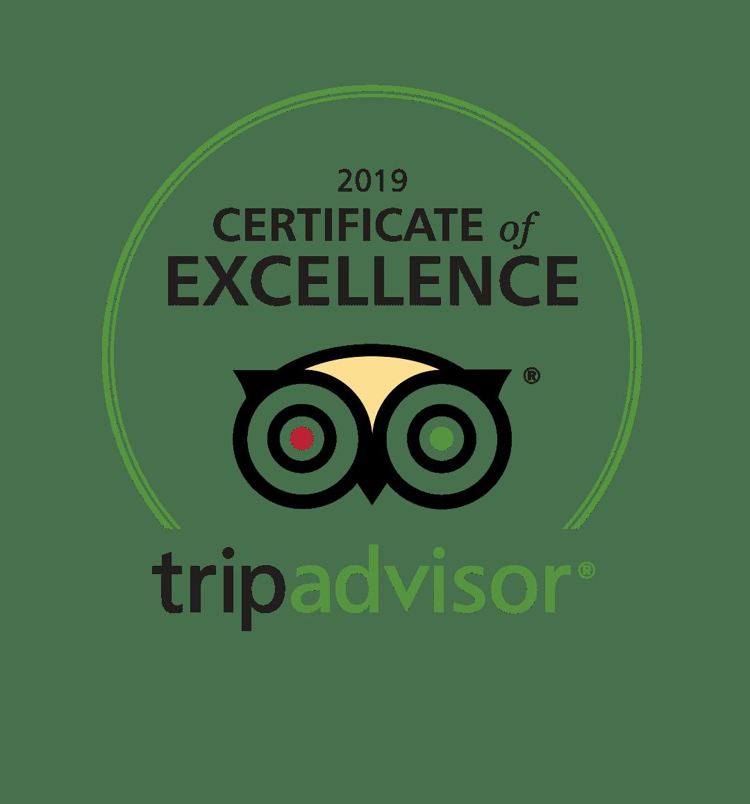 TripAdvisor: 2019 Certificate of Excellence